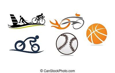 セット, ベクトル, スポーツ, テンプレート