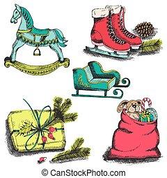セット, -, ベクトル, デザイン, スクラップブック, クリスマス, 要素
