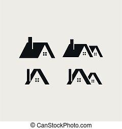 セット, ベクトル, デザイン, テンプレート, ロゴ, 家, アイコン