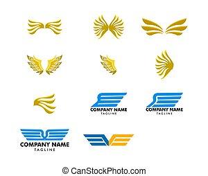 セット, ベクトル, デザイン, テンプレート, ロゴ, 翼, アイコン