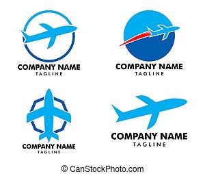 セット, ベクトル, デザイン, テンプレート, ロゴ, 飛行機