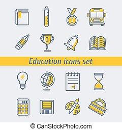 セット, ベクトル, 教育, イラスト, アイコン