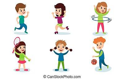 セット, ベクトル, 特徴, 健康診断, 6, 活動, 子供, 別, 漫画, イラスト