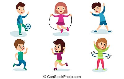 セット, ベクトル, 特徴, 物理的な 活動, 子供, 別, 漫画, イラスト