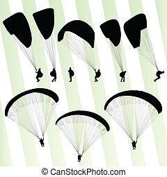 セット, ベクトル, 背景, paragliding, 活動的, スポーツ