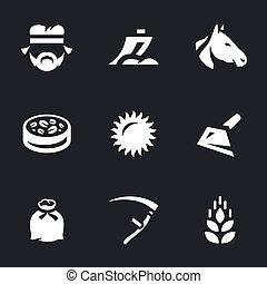 セット, ベクトル, 農業, icons.