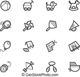 セット, ベクトル, 黒, おもちゃ, 赤ん坊, アイコン