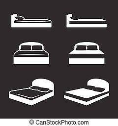 セット, ベッド, アイコン