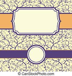 セット, ペイントされた, パターン, 木, seamless, brunches, 背景, フレーム