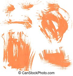 セット, ペンキ, 手ざわり, smears, 4, オレンジ