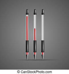セット, ペン, ベクトル, 透明, 赤, ゲル