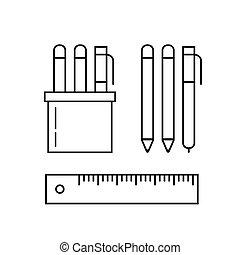 セット, ペン, ベクトル, 鉛筆, 定規, マーカー, ホールダー