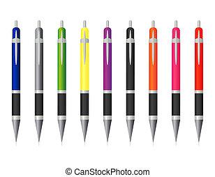 セット, ペン, 有色人種