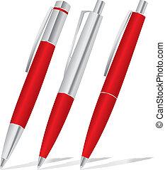 セット, ペン, 赤