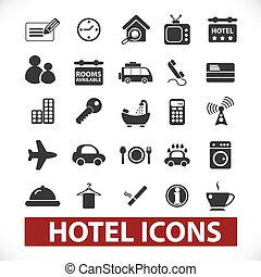 セット, ホテル, ベクトル, アイコン