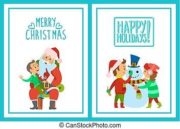 セット, ホリデー, 子供, 陽気, ポスター, クリスマス, 幸せ