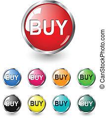セット, ボタン, 買い物, ベクトル, アイコン