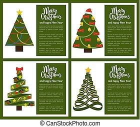 セット, ポスター, 木, 陽気, 年, 新しい, クリスマス, 幸せ