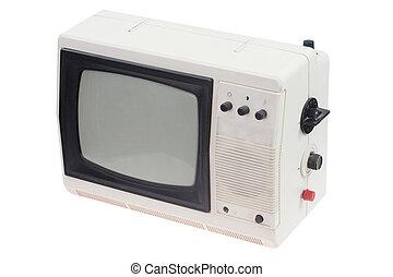 セット, ポータブル, tv, 型, 隔離された, 白