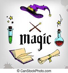 セット, マジック, 要素