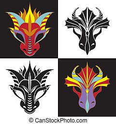 セット, マスク, ドラゴン