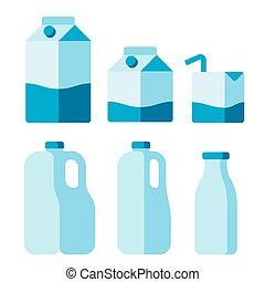 セット, ミルク, パッケージ