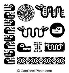 セット, メキシコ人, mayan, 動物, aztec, 古代, デザイン, ヘビ