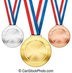 セット, メダル, 三色旗, 隔離された, 金, 現実的, 銅, 銀, スポーツ, 白いリボン