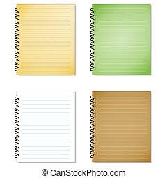 セット, メモ用紙, らせん状に動きなさい, 隔離された, 現実的, ノート, vector., ブランク, 白
