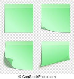 セット, メモ, 隔離された, イラスト, 付せん, 背景, ベクトル, 広場, 緑, 透明