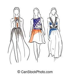 セット, モデル, ファッション