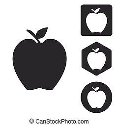 セット, モノクローム, アップル, アイコン
