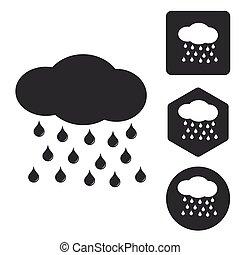セット, モノクローム, 雨, アイコン