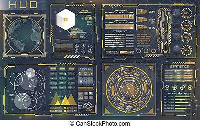 セット, ユーザー, パネル, インターフェイス, 対話型である, 未来派, hud, design., 制御, 要素