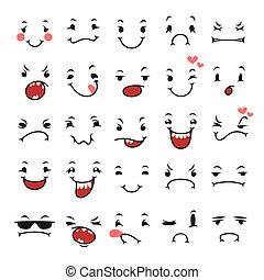 セット, ユーモア, いたずら書き, デザイン, 顔の 表現