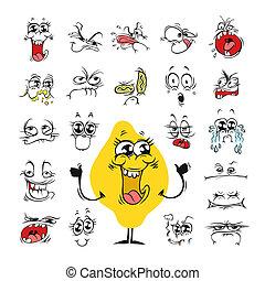 セット, ユーモア, デザイン, 顔の 表現, 漫画