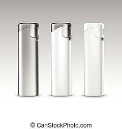 セット, ライター, 金属, プラスチック, ベクトル, 背景, ブランク, 白