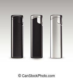セット, ライター, 金属, プラスチック, ベクトル, 黒い背景, ブランク