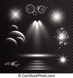 セット, ライト, レンズは急に燃え上がる, 効果, 背景, きらめく, 透明