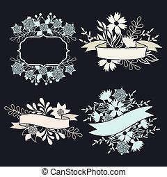セット, ラベル, 要素, デザイン, リボン, 花