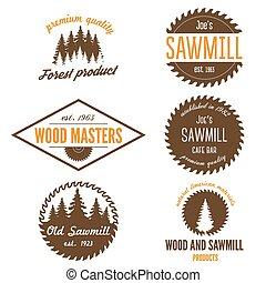 セット, ラベル, logotype, 製材所, 要素, バッジ, woodworkers, ∥あるいは∥, ロゴ, ...