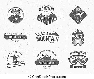 セット, ラベル, snowboard, 屋外, デザイン, 上昇, ロゴ, 荒野, 山, キャンプ, 型, 旅行, 情報通, 森林, 引かれる, insignia., badge., 探検家, シンボル, 手, 冒険, アイコン, キャンプ, ベクトル