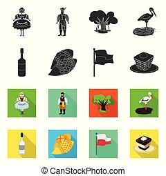 セット, ランドマーク, web., シンボル。, イラスト, 伝統的である, 旅行, ベクトル, シンボル, 株