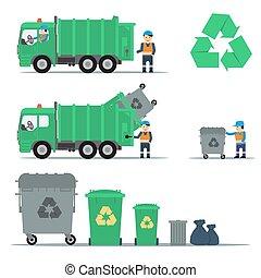 セット, リサイクル, ごみ