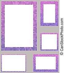 セット, レイアウト, 紫色, ピクセル, ボーダー, ページ, モザイク