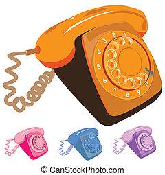 セット, レトロ, 電話