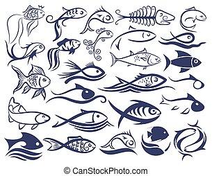 セット, ロゴ, fishes.
