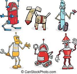 セット, ロボット, イラスト, 漫画