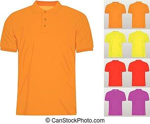 セット, ワイシャツ, カラフルである, ベクトル, t, テンプレート, ポロ