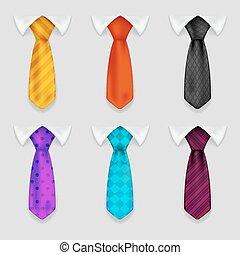 セット, ワイシャツ, bacground, アイコン, イラスト, 現実的, ベクトル, デザイン, タイ, 3d